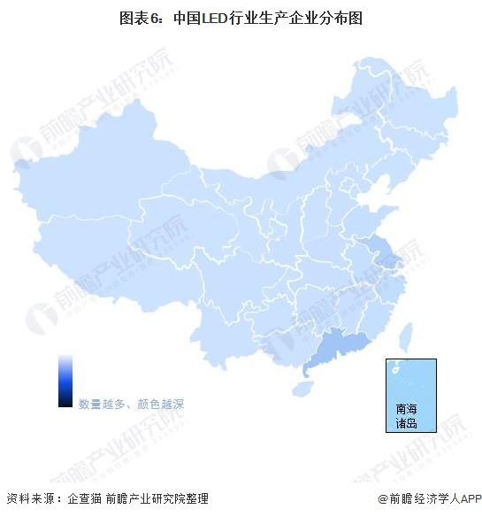 图表6:中国LED行业生产企业分布图